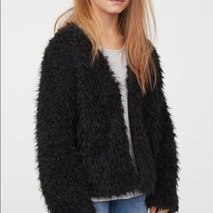 H&M Divided Black Fuzzy Open Front Cardigan Small